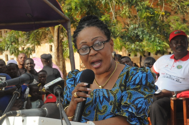 Mrs Lordina Mahama delivering a speech at HIV, breast and cervical cancer screening programme at Methodist Park Shama, Western region