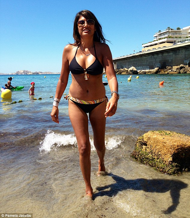 Enviable: Pamela, pictured here during a family holiday, has a figure better than many twenty-somethings