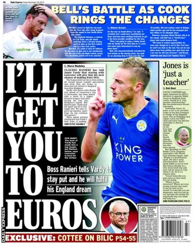 Friday's Daily Express back page