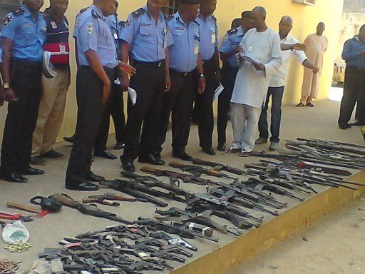 Wpid Nasarawa Police Comand Parading Suspected Bandits Along Side Firearms