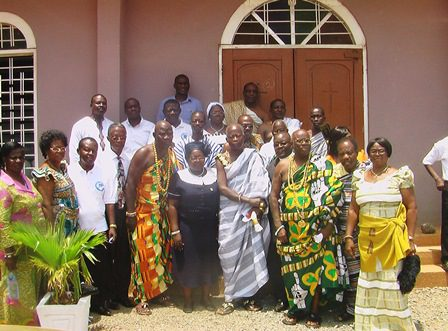 Rev. Mark Mensah Boye, fourth from left with the traditional chiefs and session members of Faith Congregation