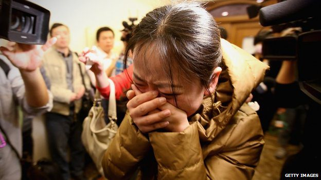 Friends and relatives expecting to meet passengers from the flight in Beijing were taken to a nearby hotel