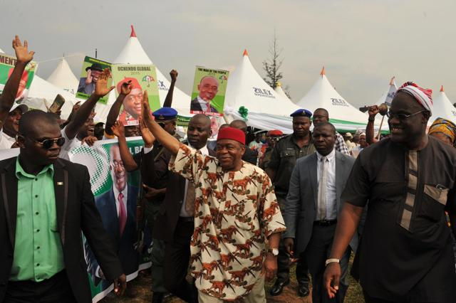 Giov. Theodore Orji of Abia state acknowledging greeting from his supporters on arrival at Bande Local Government Headquaters for a grand civic reception organised in his honour by the people of Bende LGA.