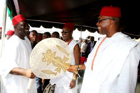 The Deputy President of the Senate, Chief Ike Ekweremadu exchange traditional greetings with the Corps Marshal of the Federal Road Safety Corps, Chief Osita Chidoka, Ike Obosi at the reception and conferment of chieftaincy title of Dike Eji Ejemba on the Deputy President of the Senate by Oduma Community, Aninri Local Government Area, Enugu State at the weekend. PHOTO: OFFICE OF THE DSP