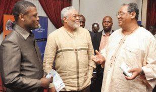 Mr Kofi Adams, Dr. Jerry John Rawlings and Jake Obetsebi Lamptey