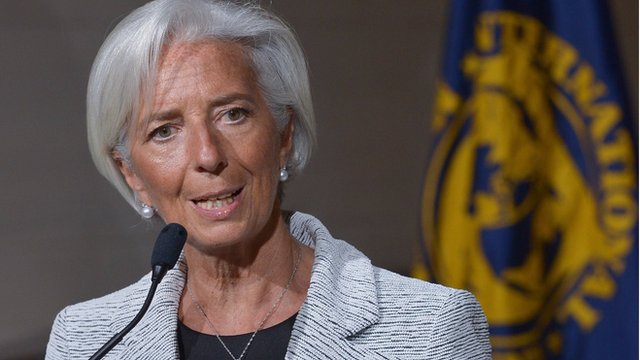 The head of the IMF, Christine Lagarde, said there would be regular checks on Ukraine's progress