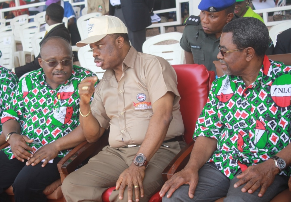 Mr. Chidi Ezeoke, Head of Service and Chief Willie Obiano, Executive Governor, Anambra State at the May Day Rally in Awka...