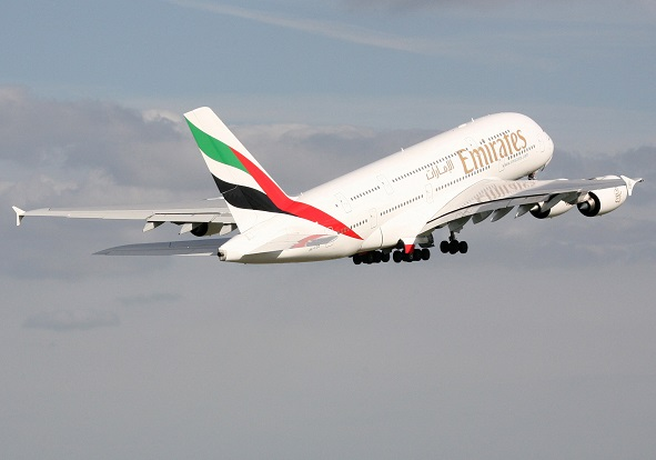 An Emirates A380 in flight. The daily A380 service to Frankfurt will start on 1st September.
