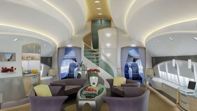 This custom living room is an elegant way to travel.?