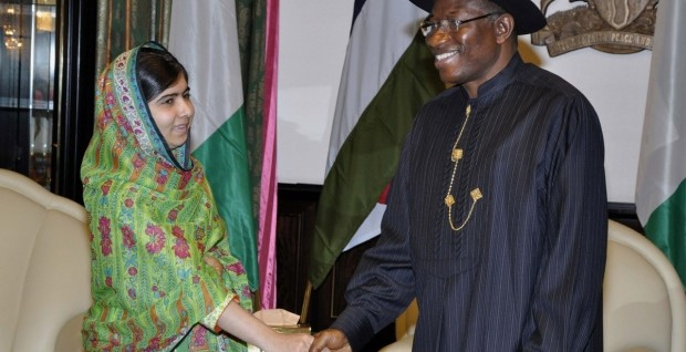 Malala Yousafi and President Jonathan in Abuja