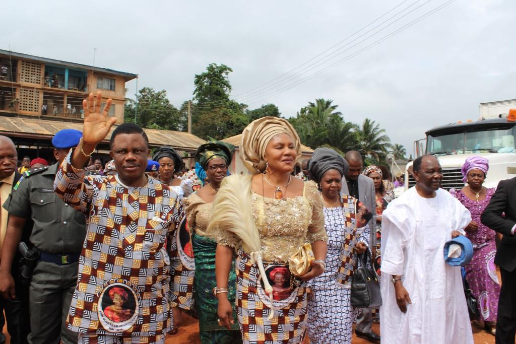 (L-R) Chief Willie Obiano, Governor of Anambra State, Chief Mrs Ebelechukwu Obiano, his wife, Mrs Victoria Gowon and former President yakubu Gowon arriving at Madonna Catholic Church, Agulu for the Requiem Mass in honour of Prof Dora Akunyili in Anaocha Local Government Area,Anambra State...Thursday.