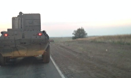 Armoured personnel carriers in Russia move towards the Ukraine border. Photograph: Shaun Walker