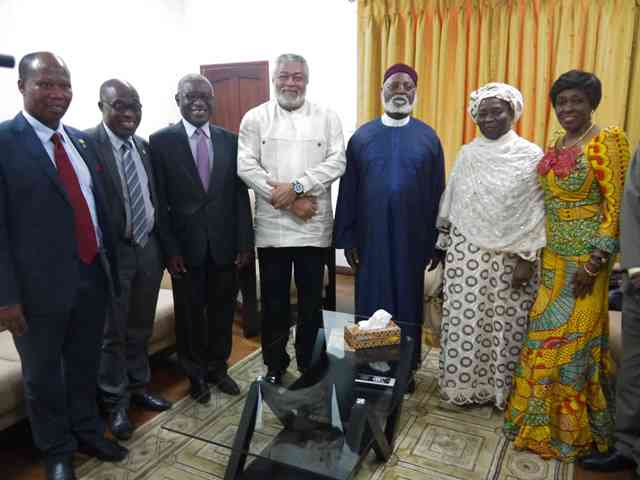 Presidents Rawlings and Abubakar pose with their spouses and officials of UEW