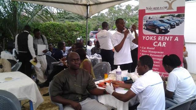 Mr Micahel Asare, Corporate Sales Manager of Yoks being screened during the exercise.