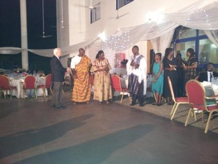 Mr Vincenzo Morlini, President of AFS-Global, presenting awards to Reverend Allan Okomeng-Mensah, a ?Galaxy Award Winner? and Board Chairman of AFS-Ghana, and Mr Philip Addison, a Legal Practitioner, who is a volunteer of AFS-Ghana.