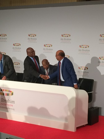 From the left, Dr Abdulai shaking the hand of Mo Ibrahim and Sir Quett Ketumile Joni Marire former President of Botswana sittin
