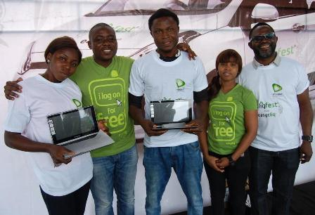 Winners of the laptop with Etisalat Staff over the weekend