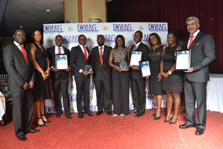 Managing Director of Airtel Ghana, Lucy Quist (6th from left), with Management and staff of Airtel displayingboth awards - the coveted Marketing Oriented Organization of the Year and the Brand Activation Program of the Year.Managing Director of Airtel Ghana, Lucy Quist (6th from left), with Management and staff of Airtel displayingboth awards - the coveted Marketing Oriented Organization of the Year and the Brand Activation Program of the Year.