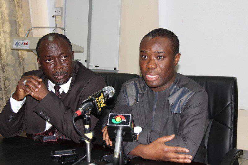 show Deputy Communication Minister, Mr Felix Ofosu Kwakye addressing the news conference in Accra