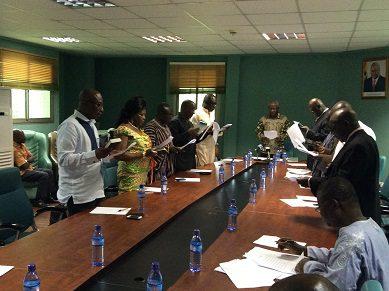 Board members taking the oath