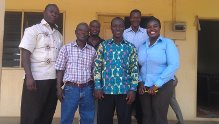 A group picture of Mr. Fred Sakyi Boafo, (third right on front role) together with Rev. Ofosuhene (2nd from left) and other Executives of AGCI Ghana.