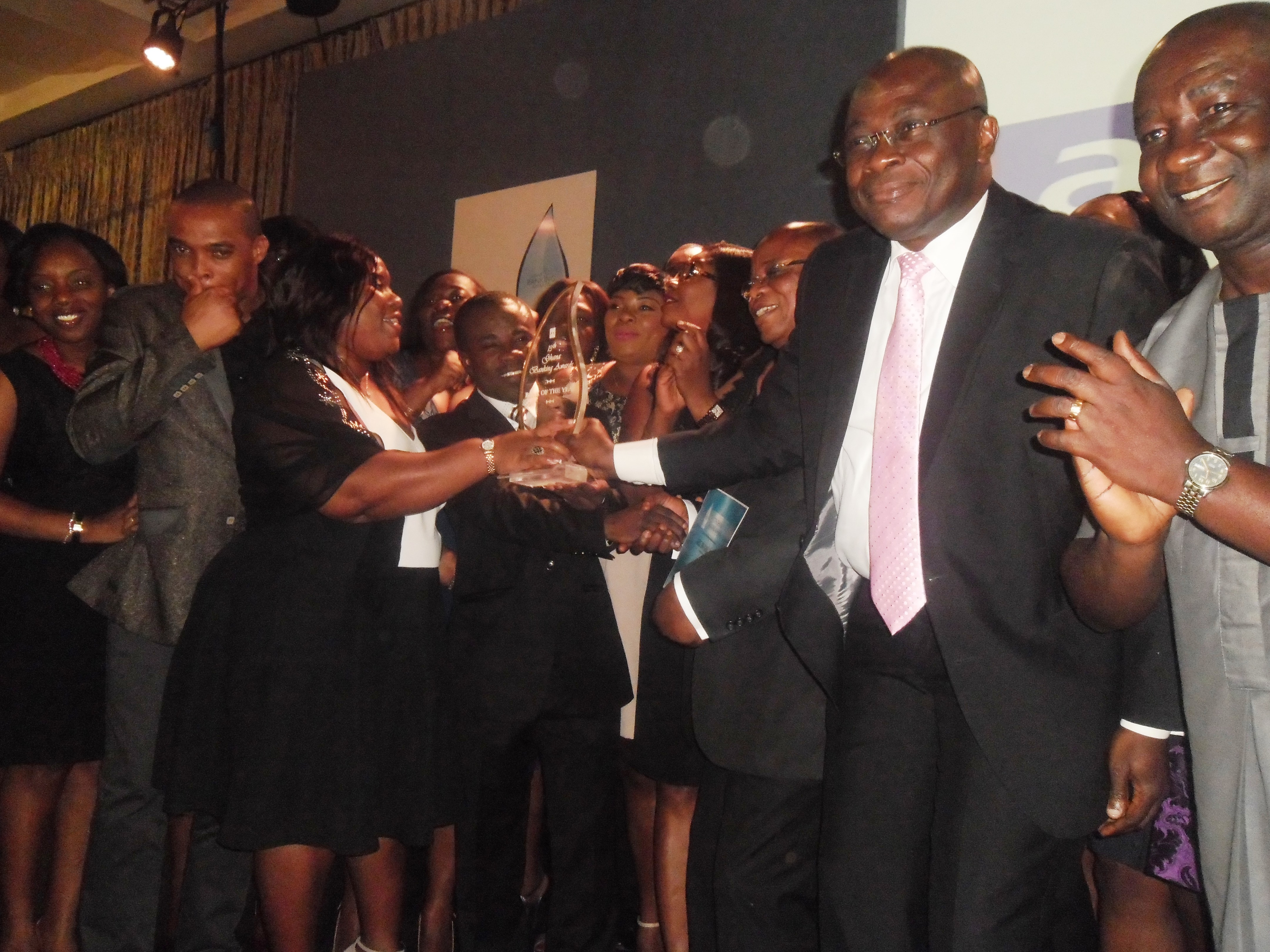 Access Bank Staff jubilating over the Bank of the Year 2013 Award.