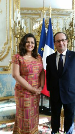 Ambassador Johanna Odonkor Svanikier, with President Fran?ois Hollande at the ?lys?e Palace in Paris during the event