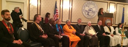 Various religious leaders during multi-faith prayer service for Ebola at Nevada Governor?s Mansion.