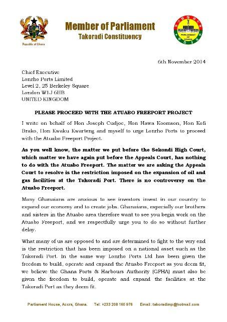 Letter To Lonrho