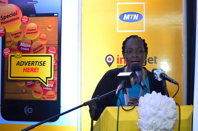 Corporate Services Executive of MTN, Cynthia Lumor speaking at theMTN, Intarget mobile advertiser launch