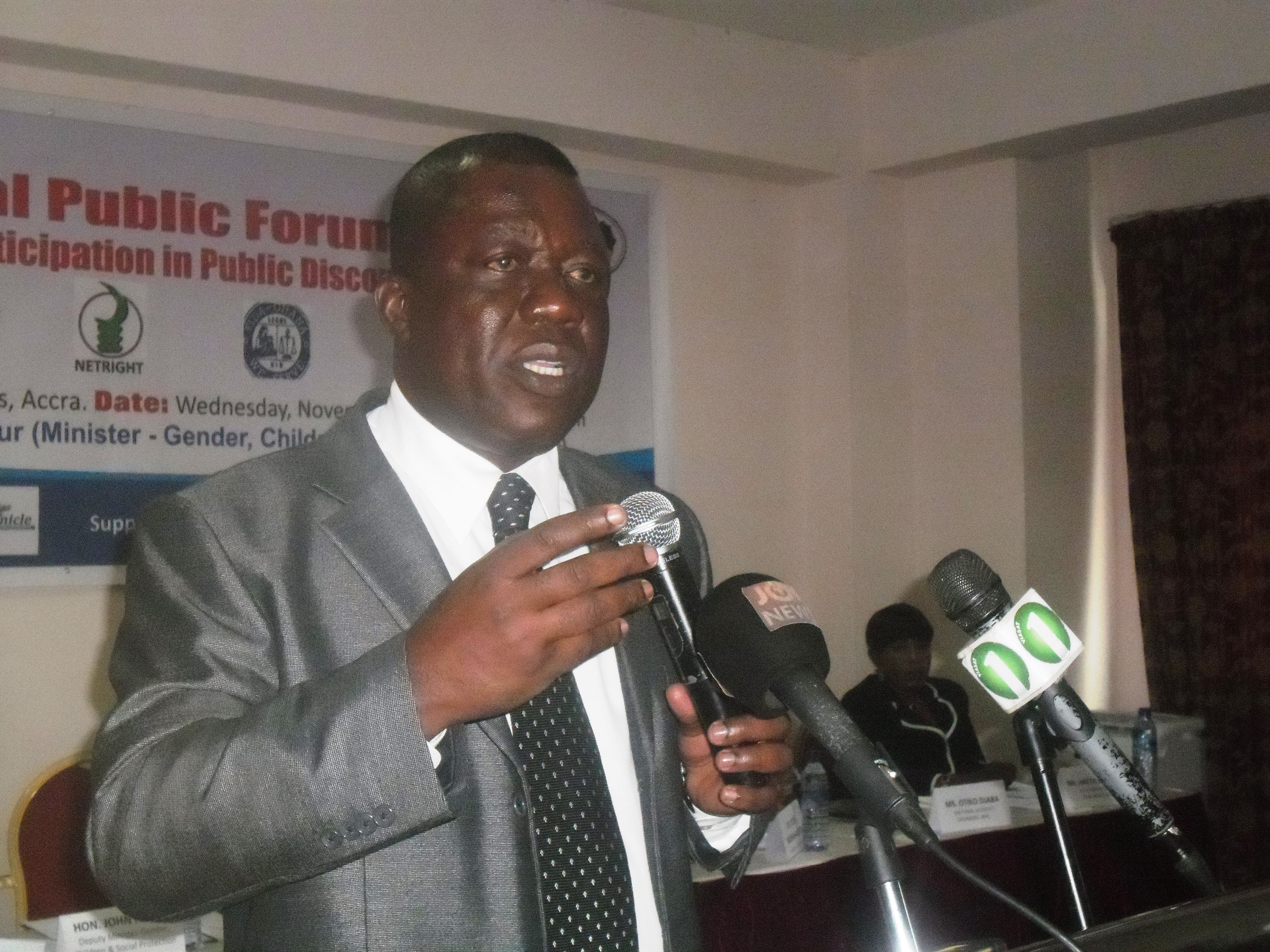 Mr John Ackon, Deputy Minister of the Ministry of Gender, Children and Social Protection