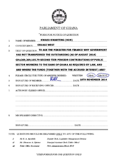 PARLIAMENTARY QUESTION - PENSION FUNDS