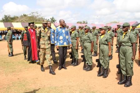 Vice President Amissah-Arthur inspecting the Cadet Corps of Breman Asikuma Senior High School.