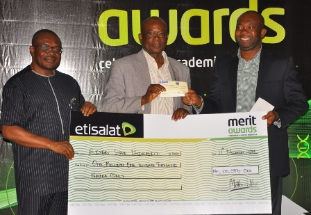 Permanent Secretary, Ministry of education, River State, Mr. Minabelem Michael West; ICT Director, Rivers State University of Science and Technology, Prof Solomon Braide and Head, Regional Sales, South ? South, Etisalat Nigeria, Mr. Enekwachi Aja, during the presentation of cheque to River State University of Science and Technology, at the Etisalat Merit Awards 2014, held at Port Harcourt, on 12th November, 2014