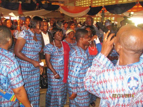 church members dancing during the celebration mass.