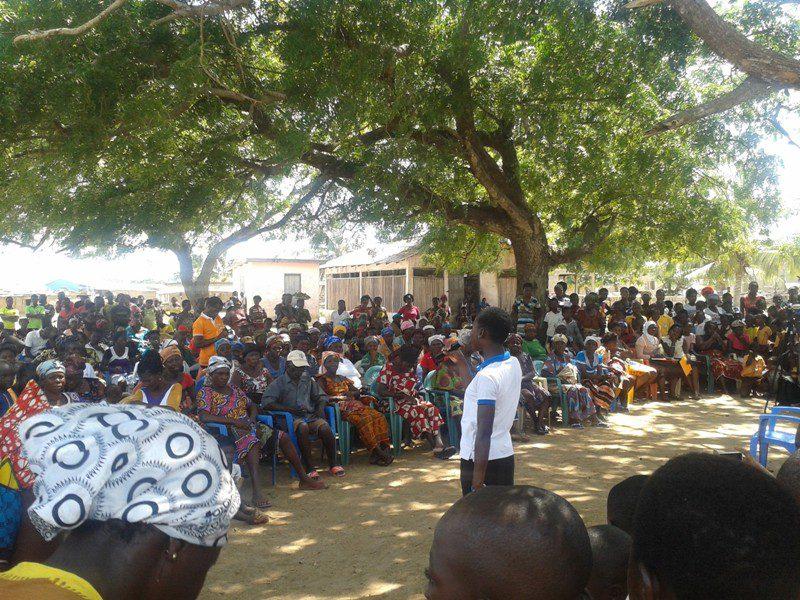 Women of Africa Foundation addressing some residents of Ningo-Prampram
