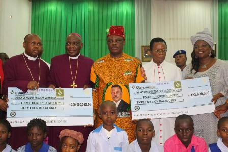 Bishop Alex Ibezim, Bishop of Awka Diocese of the Anglican Communion, Arch-Bishop Christian Efobi, the Arch-Bishop of the Province of the Niger, Anglican Communion, Chief Willie Obiano, Governor of Anambra State, Msgnr Basil Onwuasomba and Prof Kate Omenugha, Hon Commissioner for Education during the presentation of N1.9bn to Mission Schools in Anambra State...Friday