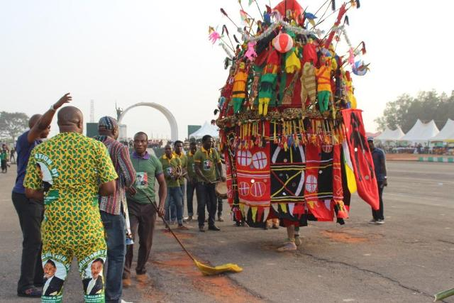 The colourful Ijele Masquerade from Umunya, performing at the Anambra State Cultural Festival in Awka...Tuesday