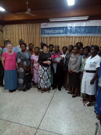Second Lady poses with participants