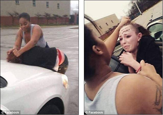 Online footage shows Cheyanne Willis being visciously attacked by a group of women on Christmas Eve (left). She says her attackers signed their names on her forehead (right) and bragged about the beating on Facebook