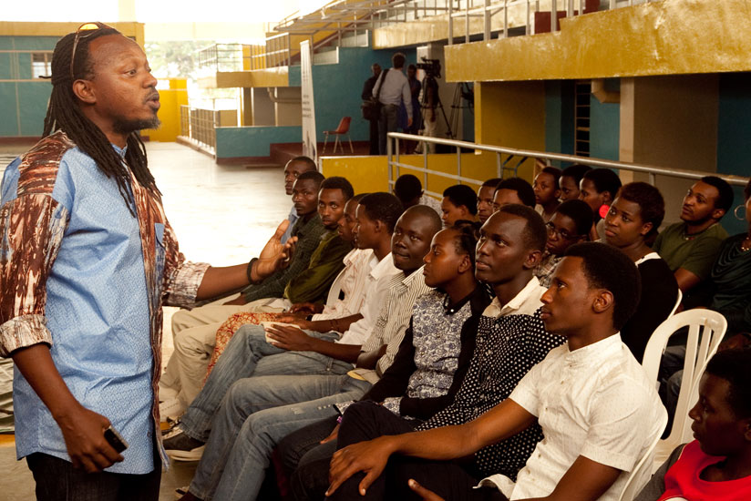Jacques Murigande aka Mighty Popo, the Director of Nyundo School of Art and Music addressing contestants before the presentations. (Faustin Niyigena)
