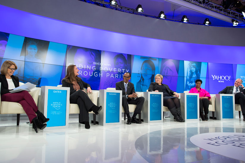 President Kagame and other panelists during discussion on promotion of gender parity at the just ended World Economic Forum in Davos.
