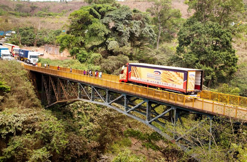 A truck crosses from Rwanda into Tanzania at Rusumo Border. (File)