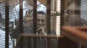 This file photo shows ousted dictator Hosni Mubarak at a court in Cairo.