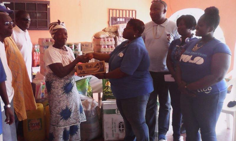 Deborah AKAKPO CSR Manager donating to the Weija Leprosarium