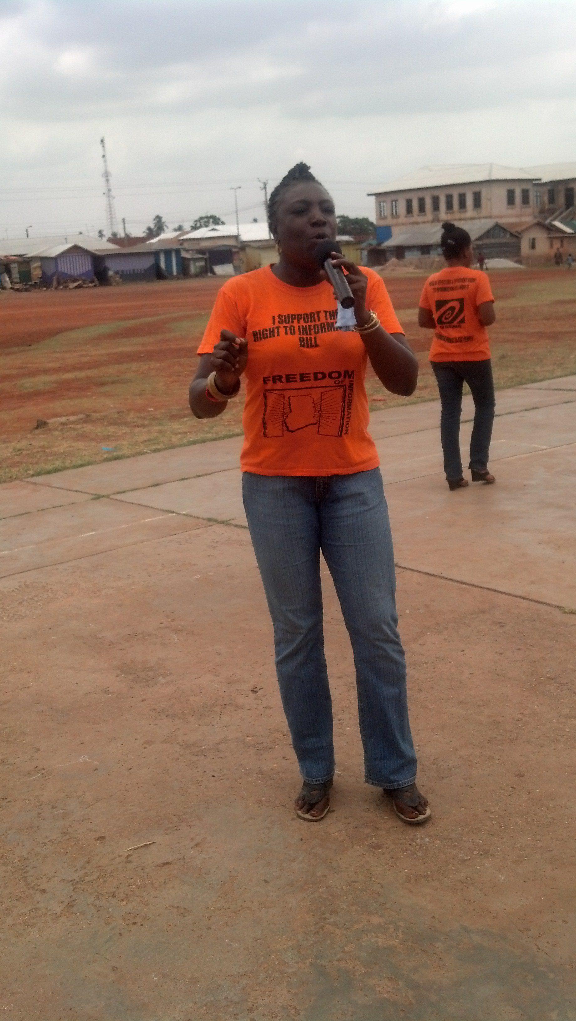 Madam Mensah speaking at the forum