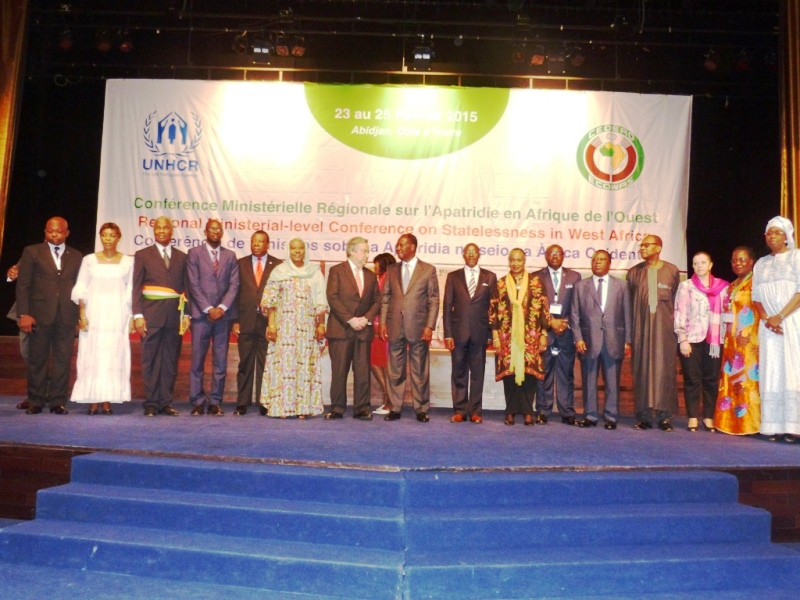 Mr Agalga (1st left) with President Alassane Ouattara (middle) in a group photo with other participants