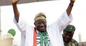 President Goodluck Jonathan at the Ahmadu Bello Stadium, Kaduna