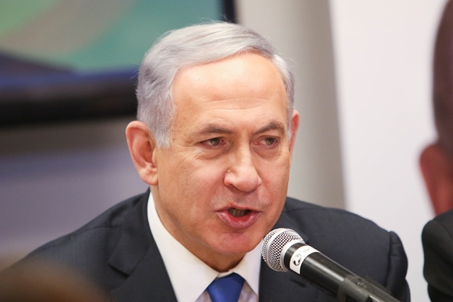 """Israeli Prime Minister Benjamin Netanyahu addresses a campaign trail in Or Yehuda, Israel, on March 16, 2015. Israeli Prime Minister Benjamin Netanyahu told an Israeli news website Monday that if he is elected in Tuesday's national elections, """"there will be no Palestinian state."""" (Xinhua/JINI/Dani Maron)"""