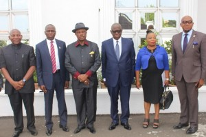 (L-R) Mr. Marcel Manafa, Chief Tony Onyima, Chief Willie Obiano, Governor of Anambra State, Mr. Emeka Maduegbuna, Chairman of the new ABS Board, Mr. Uche Nworah, Managing Director, ABS and Mrs. Obiageli Pat Ndu during the inauguration of the new Board of Directors of ABS at the Governor's Lodge, Amawbia...Tuesday